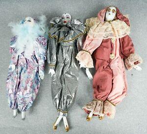 3 Vintage  Harlequin Jester Clown Mardi Gras Handmade Porcelain Figurines