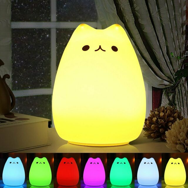 7 Color Changing Rechargeable Silicone Cat Night Light Baby Nursery Bedside Lamp