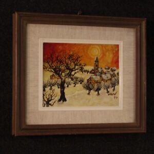 Dipinto paesaggio firmato quadro olio su masonite stile antico impressionista