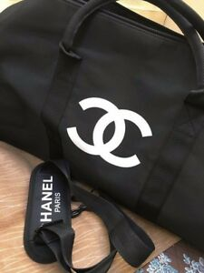 Chanel-Duffel-Travel-Gym-Shoulder-Gift-Bag-w-Removable-Strap-Silk-Print-Logo