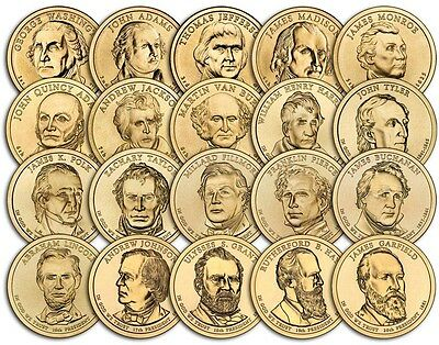 Complete presidential  dollar coin set 2007-2011 first 20 coins P or D