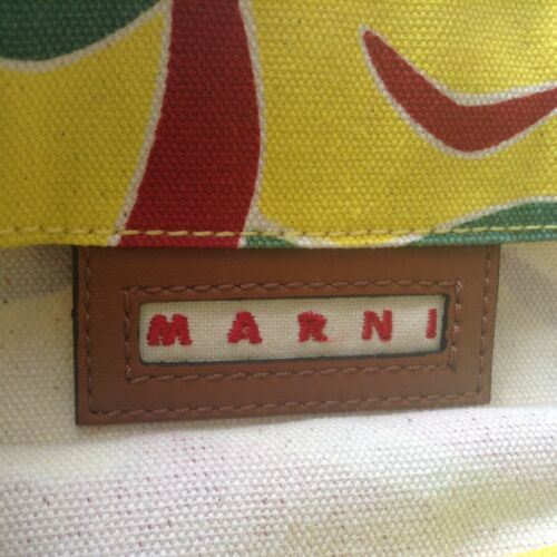 And Leather Red Marni Green Printed Bnwts Bag Yellow Canvas qwptaZT