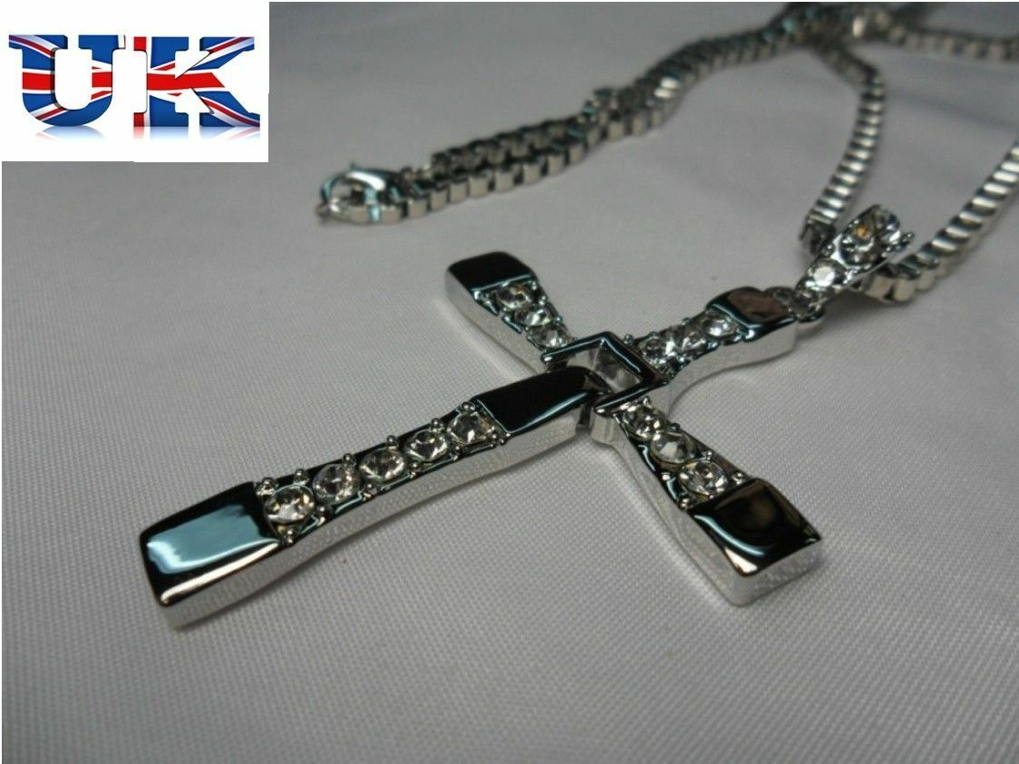 Mens silver cross chain necklace fast and furious movie dominic mens silver cross chain necklace fast and furious movie dominic toretto pendant aloadofball Images