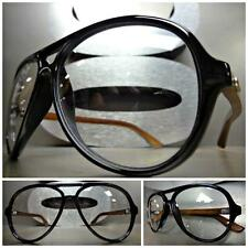 CLASSIC VINTAGE 70's RETRO Style Clear Lens EYE GLASSES Real Wood Wooden Frame