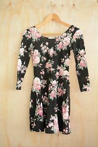 NWT-Aeropostale-Black-rose-print-floral-scoopback-lightweight-skater-dress-XS