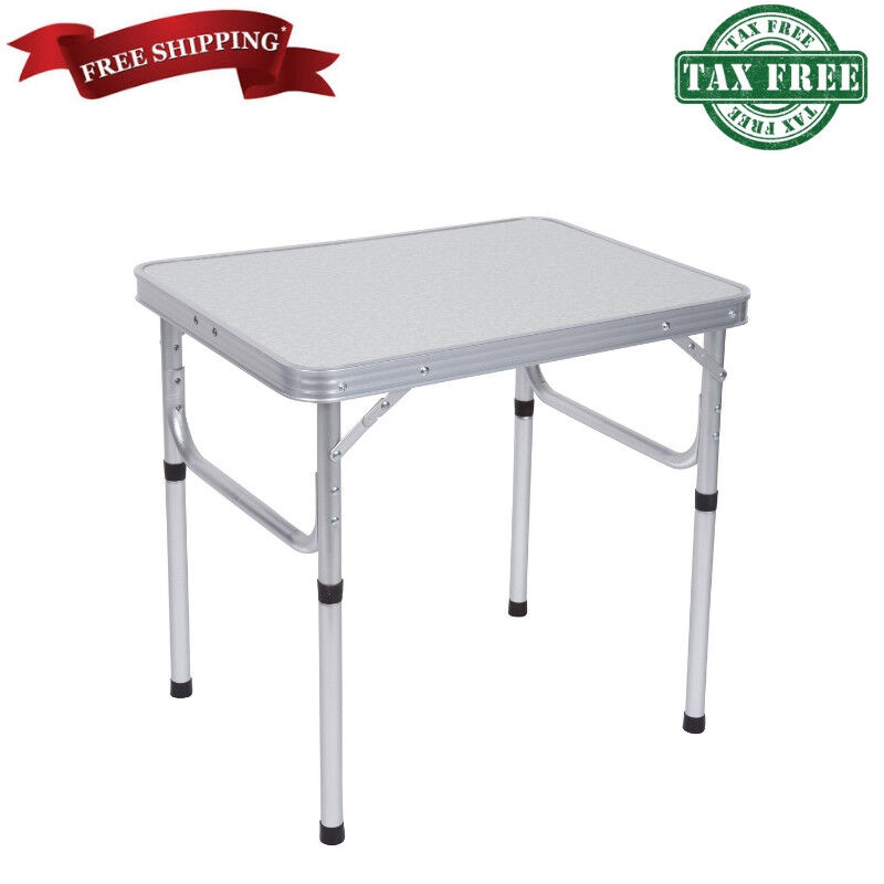 Aluminum Adjustable Portable Folding Camp Table Picnic Lightweight Tailgating