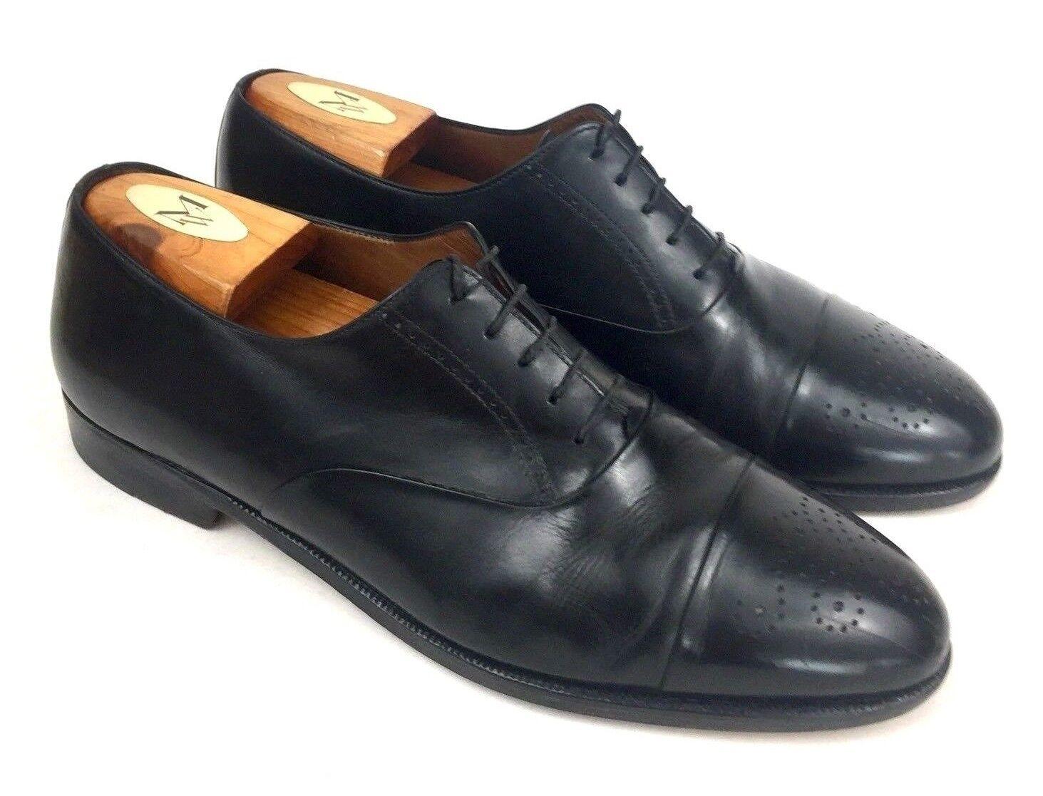 FERRAGAMO   Caesy Cuir Noir Cap Toe à Lacets Richelieu à Oxford   Homme 9.5 extra grand grand