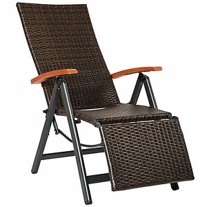 relaxsessel poly rattan aluminium gartenstuhl mit fu st tze liegestuhl garten ebay. Black Bedroom Furniture Sets. Home Design Ideas