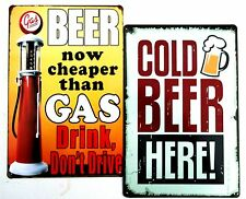 2 x BEER METAL TIN SIGNS vintage cafe pub bar - COLD BEER + CHEAPER THAN GAS