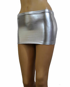 b7239080660c37 Silver Mini Skirt Micro Short Metallic Wet Look Shiny Lycra Party ...