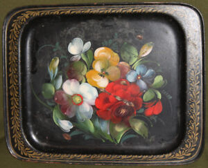 Vintage-Soviet-Russian-hand-painted-floral-metal-tole-serving-tray