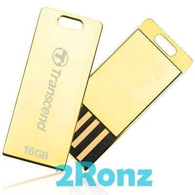 TRANSCEND T3G 16GB 16G USB Flash Pen Drive Disk Wallet JetFlash Shiny Metal Gold