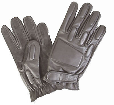 ALL SIZES Combat Style Gloves BLACK Leather Padded DEFENDER Gloves