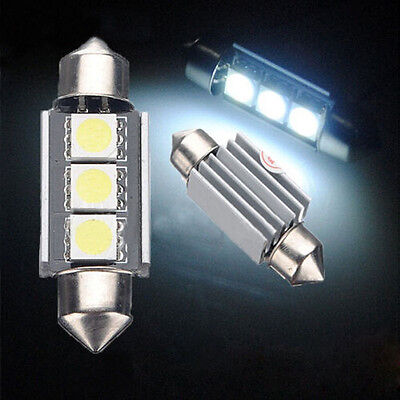 2X 36mm 3 LED 5050 SMD C5W 6418 CANBUS Error Free Dome Light Lamp Bulb 12V White