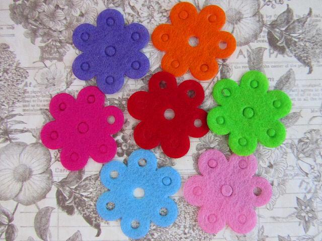 70 Flat Felt Flower w/Holes Color Applique/Paper Craft Design/Scrapbooking H70