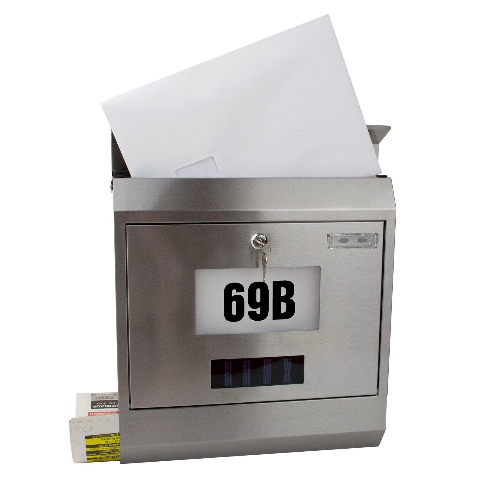 Wand-Briefkasten Solar mit Zeitungsrolle Hausnummer Postkasten Edelstahl Design