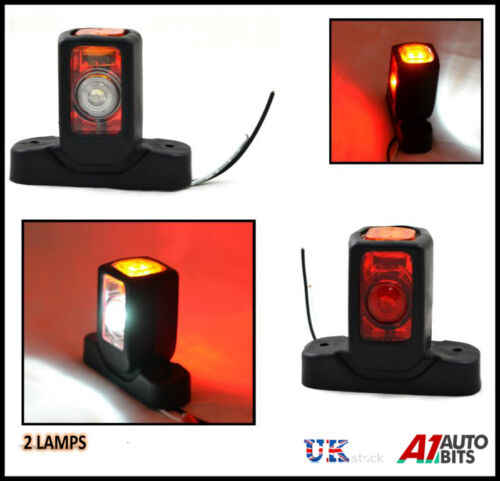 2x LED SIDE OUTLINE MARKER 12V LIGHT RED AMBER WHITE CARAVAN TRAILER LORRY TRUCK