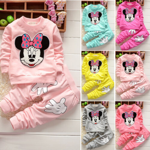 Toddler Kid Baby Girl Minnie Mouse Outfits Clothes 2Pcs Set T-shirt Tops Pants