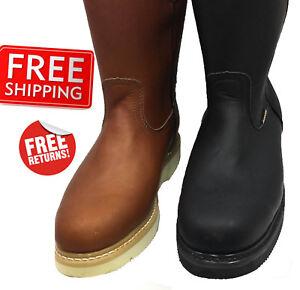 Men-039-s-Work-Boots-light-W-Pull-On-Leather-Brown-Black-oil-slip-resistant-Sz-5-13