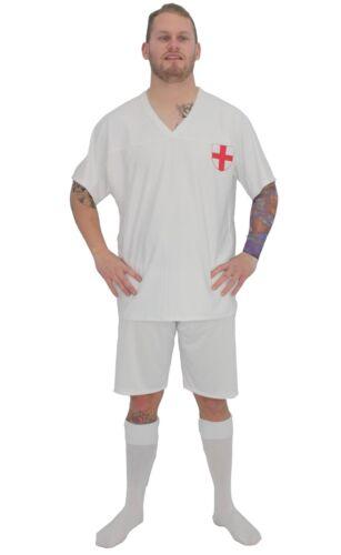 Adults England Football Icon David Beckham Kit Fancy Dress /& Tattoo Sleeve