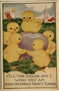 Cute-Yellow-Ducks-Dancing-Around-Egg-Antique-Easter-Holiday-Postcard-k670