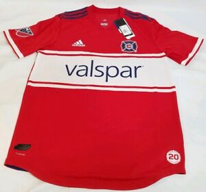 buy popular 336b1 21893 Details about ADIDAS MLS Chicago Fire Authentic Home Jersey 2018 Size Large  CD3702 the Double