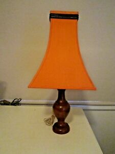 Vintage Very Retro Teak Base Table Lamp With Stunning Orange Shade