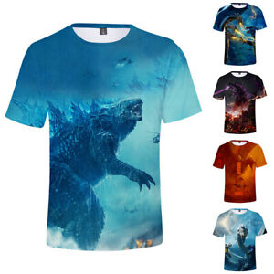 Godzilla-King-Of-The-Monsters-Dragon-T-Shirt-Tops-Cotton-Crew-Neck-Short-Sleeve