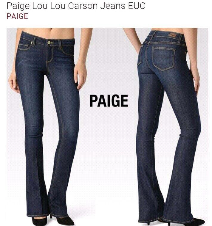 EUC PAIGE DENIM lou lou skinny flare bluee denim Carson midrise jeans size 29