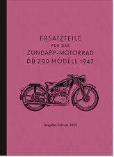 Zündapp DB 200 Ersatzteilliste Ersatzteilkatalog Teilekatalog DB200 Parts List