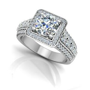 Popular Brand Real 1.22 Ct Diamond Solitaire With Accent Rings 14k White Gold Size M N Diamond