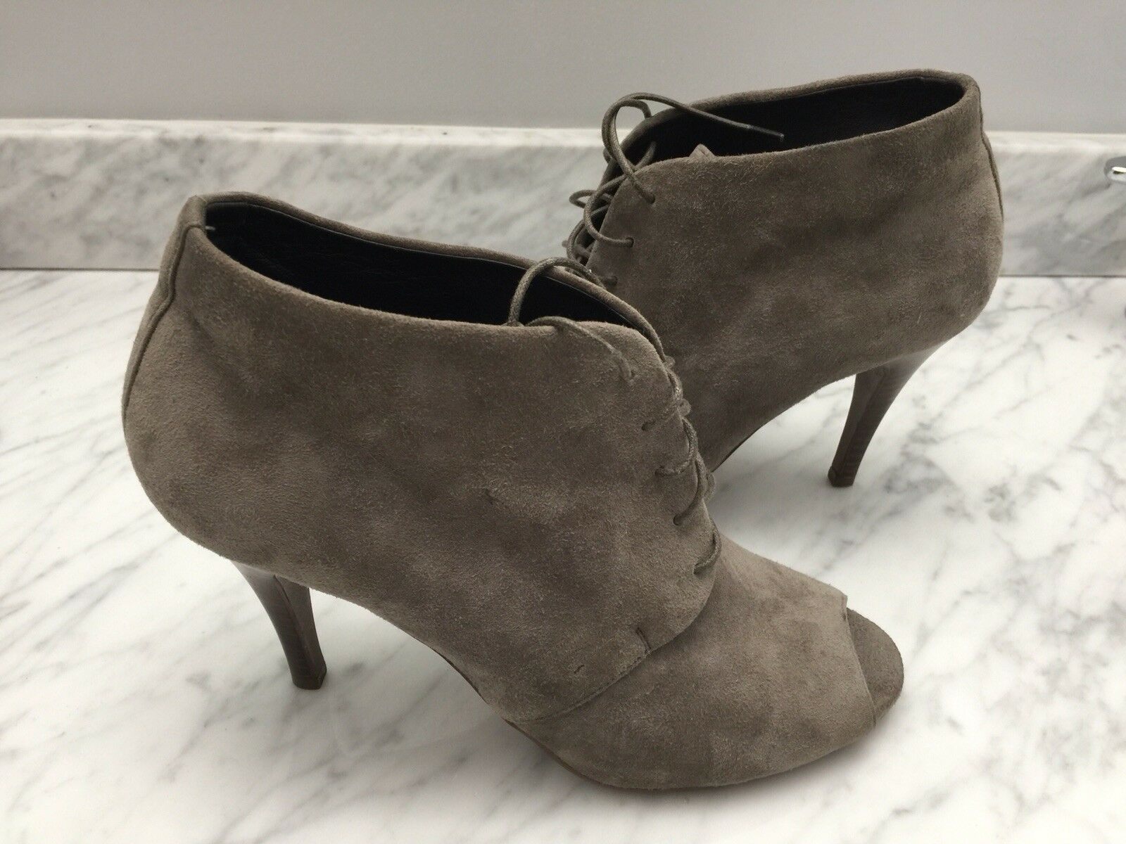 NEW J.CREW Archer Peep-Toe Gray Suede Leather Ankle Boots Sz 6M