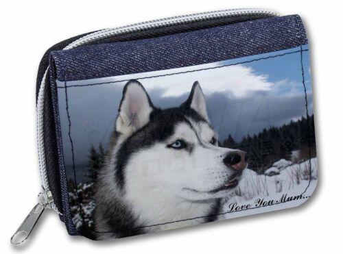 Siberian Husky /'Love You Mum/' Girls//Ladies Denim Purse Wallet Chris AD-H52lymJW