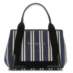 Balenciaga Leather Canvas Striped Cabas