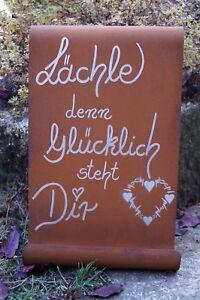 Details Zu Edelrost Tafel Lächle Den Glücklich Steht Dir Schild Spruch Gartendeko