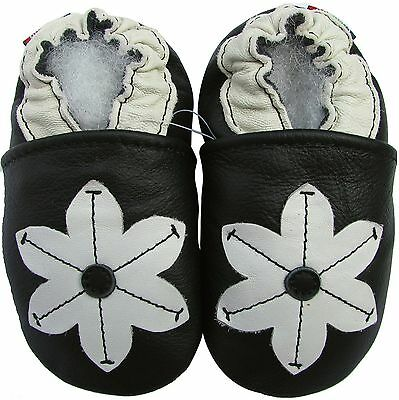 carozoo pop flower black 12-18m soft sole leather baby shoes