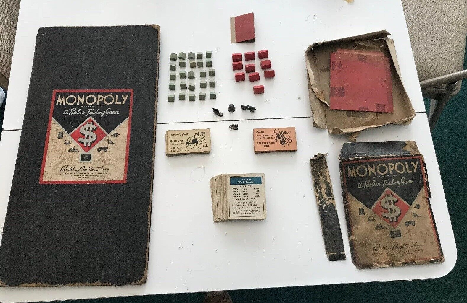 Vintage wooden pieces 1935 Monopoly Board Game A Parker Trading Game Dual Patent