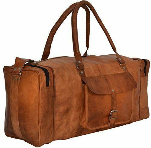 New Large Men/'s Leather  Luggage Weekend Gym Overnight Vintage Duffle Travel Bag