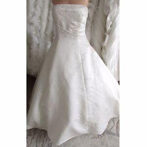 Ivory Wedding Dress With Beads Pearls Uk Size 14 16 Ebay