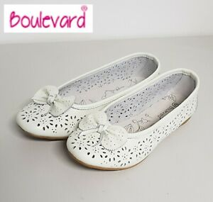 SALE-Ladies-White-Leather-Perforated-Bow-Slip-On-Ballerina-Pumps-Shoes-Size-6