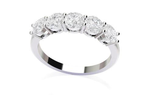 Diamond Solid 14k White Gold 4 Prong Wedding Ring Band 2.50 Carat Round Cut