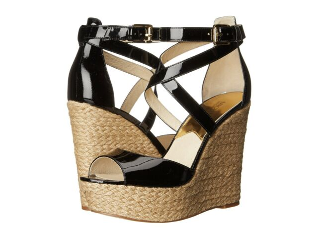 e897cba2c52 MICHAEL KORS GABRIELLA WEDGE BLACK WOMEN OPEN TOE STRAP SANDAL SHOES MULTI  SIZES