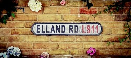 ELLAND ROAD VINTAGE HAND PAINTED WOODEN STREET SIGN