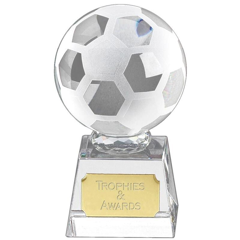 Crystal FOOTBALL Soccer Trophy 5 Sizes FREE ENGRAVING Personalised Glass Award