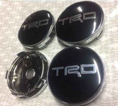4x Conjunto De Buje De Tapa Centro De Rueda De TRD Nuevo Estilo 3D Tapas De Centro 60mm Negro//Plata