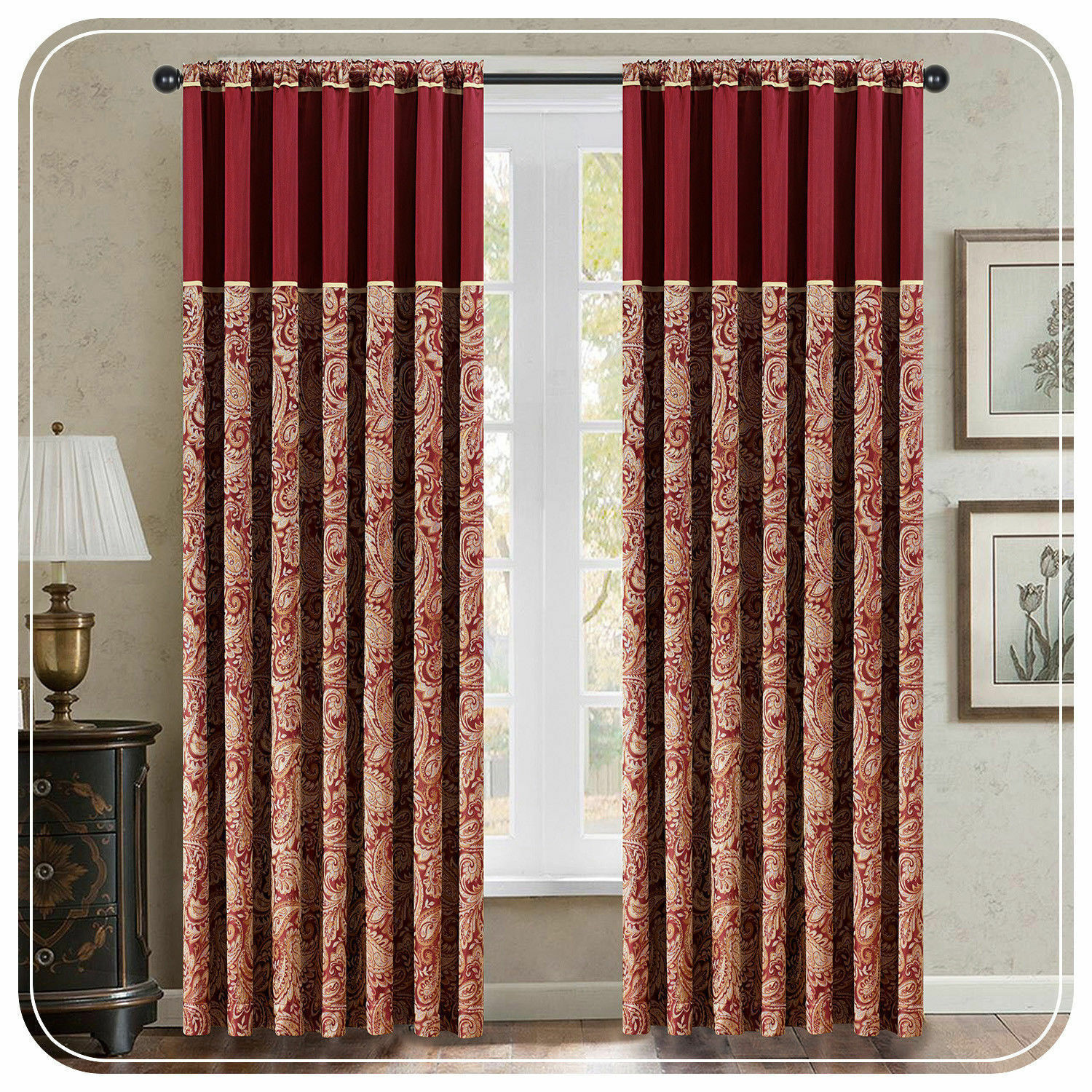 LUXURY PAISLEY JACQUARD JACQUARD JACQUARD CURTAINS  FULLY LINED BURGUNDY RING TOP  TAPE TOP 047955