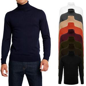 Maglione-Uomo-Casual-Slim-Fit-Maglia-Collo-Alto-Dolce-Vita-Pullover-Basic-VEQUE