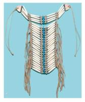 Turquoise Indian Style Med Buffalo Bone Breast Plate Beaded Plates Chest Shield