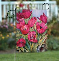 Toland - Red Tulips - Colorful Pink Flower Spring Summer Garden Flag