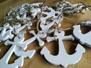 MéThodique 20 X Bois Blanc Ancre Anchor Maritime Ficelle Vintage Triés Différentes Tailles-afficher Le Titre D'origine